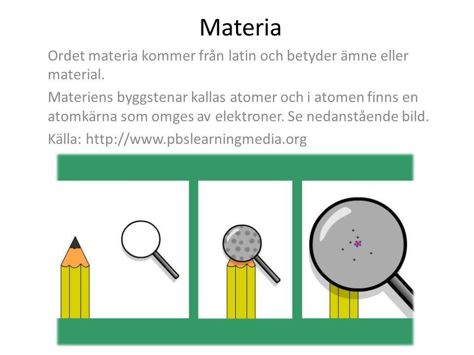 Materia Ordet materia kommer från latin och betyder ämne eller material. Materiens byggstenar kallas atomer och i atomen finns en atomkärna som omges