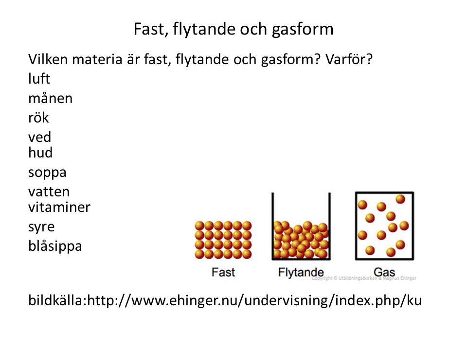 Fast, flytande och gasform Vilken materia är fast, flytande och gasform? Varför? luft månen rök ved hud soppa vatten vitaminer syre blåsippa bildkälla