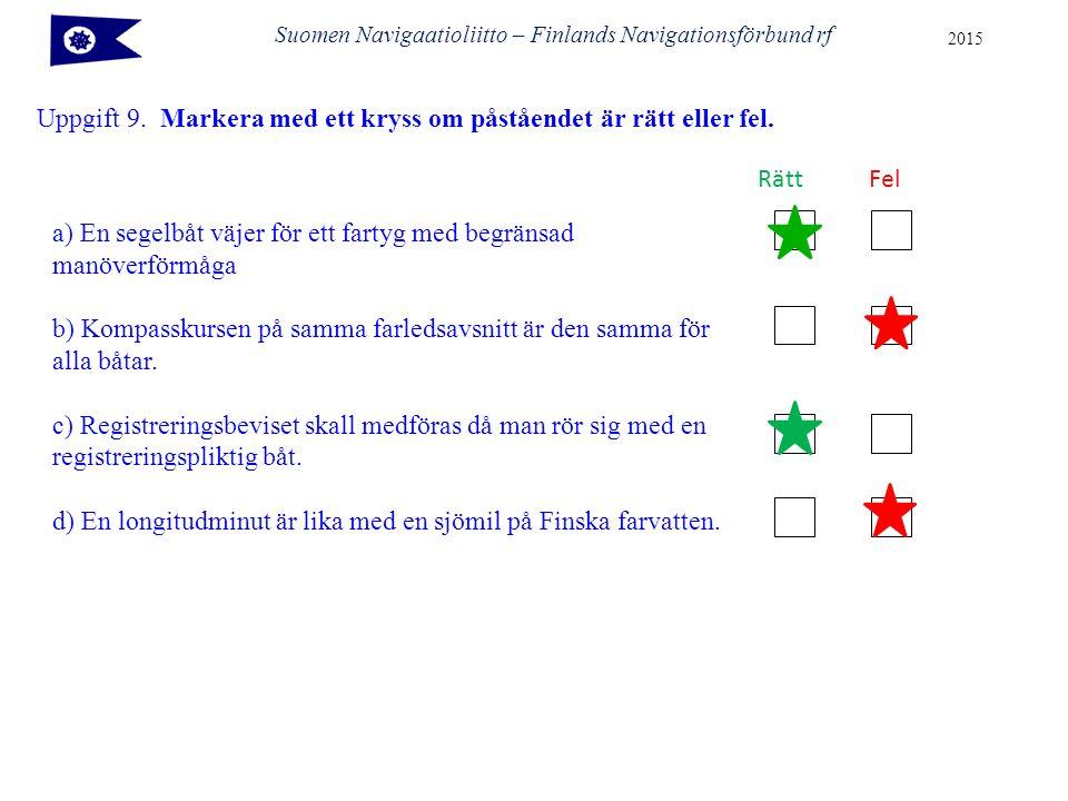 Uppgift 9. Markera med ett kryss om påståendet är rätt eller fel. Suomen Navigaatioliitto – Finlands Navigationsförbund rf 2015 a) En segelbåt väjer f