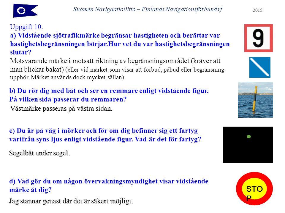 Uppgift 10. a) Vidstående sjötrafikmärke begränsar hastigheten och berättar var hastighetsbegränsningen börjar.Hur vet du var hastighetsbegränsningen
