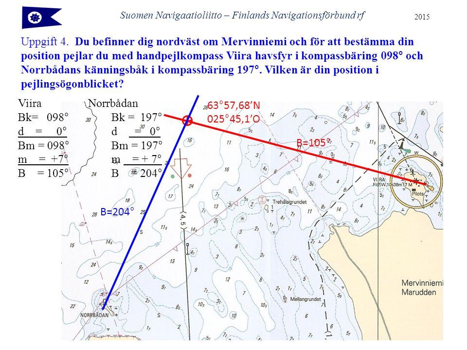 Suomen Navigaatioliitto – Finlands Navigationsförbund rf 2015 Uppgift 4. Du befinner dig nordväst om Mervinniemi och för att bestämma din position pej