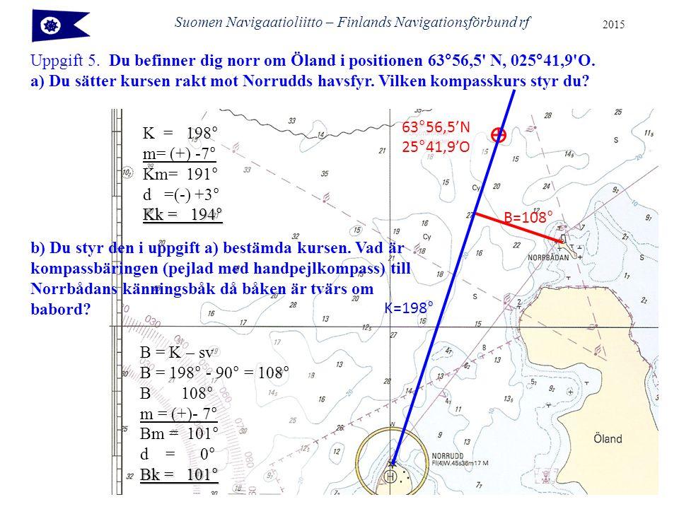 Suomen Navigaatioliitto – Finlands Navigationsförbund rf 2015 Uppgift 5. Du befinner dig norr om Öland i positionen 63°56,5' N, 025°41,9'O. a) Du sätt