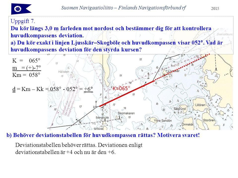 Suomen Navigaatioliitto – Finlands Navigationsförbund rf 2015 Uppgift 7. Du kör längs 3,0 m farleden mot nordost och bestämmer dig för att kontrollera