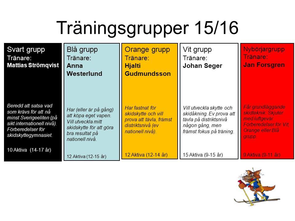 Träningsgrupper 15/16 Svart grupp Tränare: Mattias Strömqvist Beredd att satsa vad som krävs för att nå minst Sverigeeliten (på sikt internationell nivå).