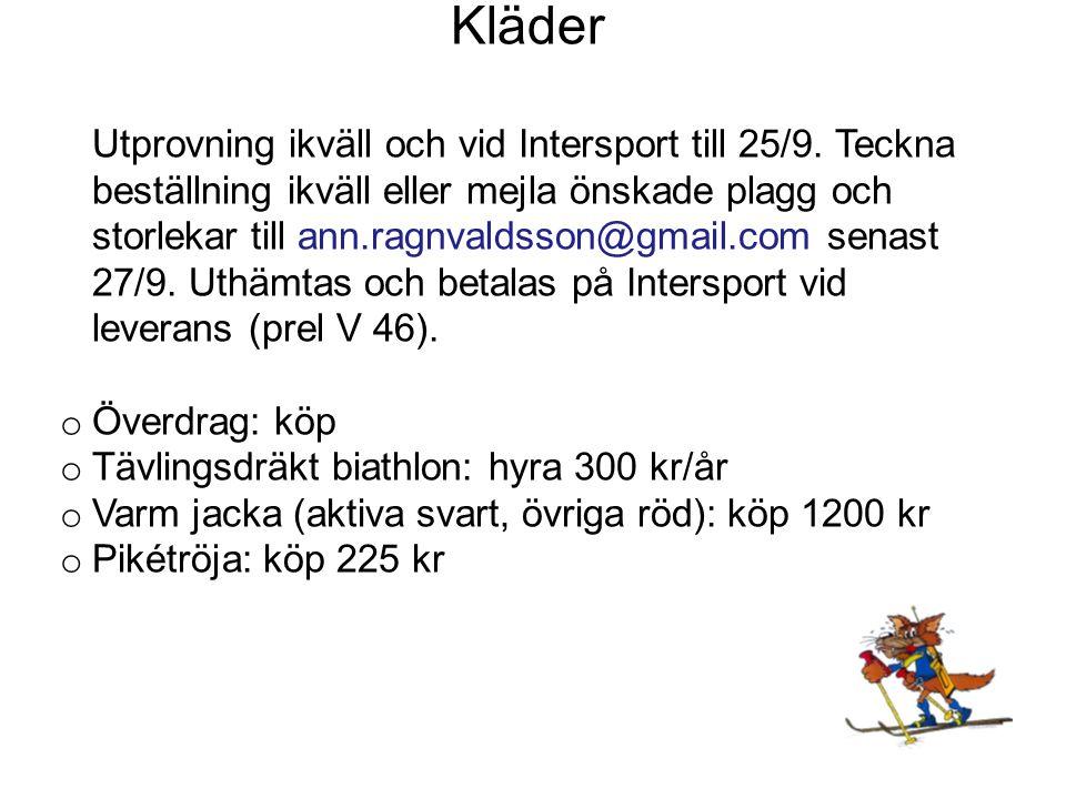 Kläder Utprovning ikväll och vid Intersport till 25/9.