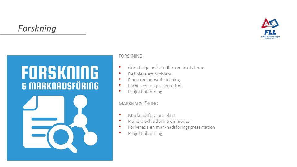 Forskning FORSKNING Göra bakgrundsstudier om årets tema Definiera ett problem Finna en innovativ lösning Förbereda en presentation Projektinlämning MARKNADSFÖRING Marknadsföra projektet Planera och utforma en monter Förbereda en marknadsföringspresentation Projektinlämning