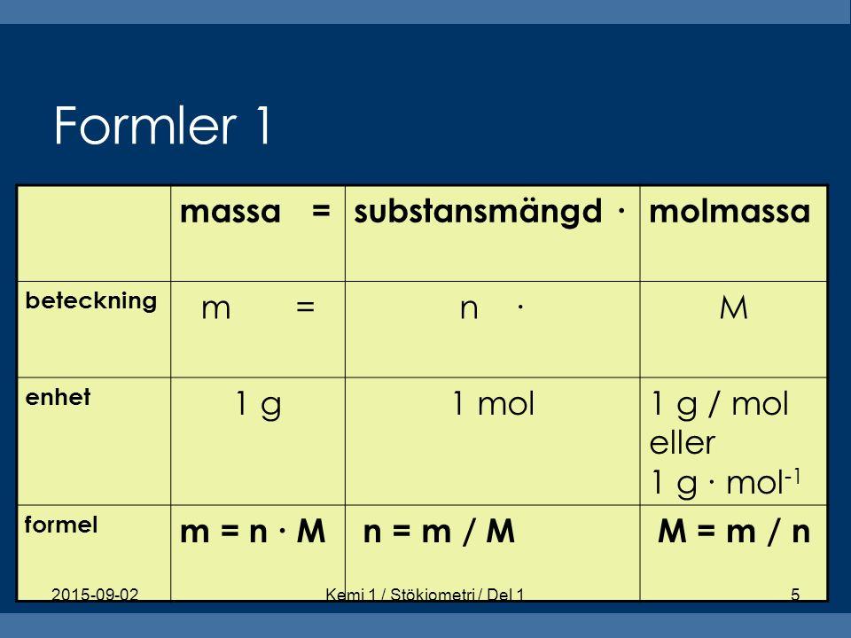 Formler 1 massa =substansmängd ∙molmassa beteckning m =n ∙M enhet 1 g1 mol1 g / mol eller 1 g ∙ mol -1 formel m = n ∙ M n = m / M M = m / n 2015-09-02