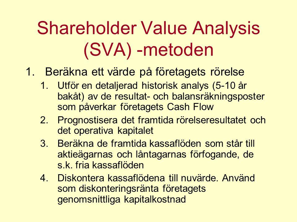 Shareholder Value Analysis (SVA) -metoden 1.Beräkna ett värde på företagets rörelse 1.Utför en detaljerad historisk analys (5-10 år bakåt) av de resultat- och balansräkningsposter som påverkar företagets Cash Flow 2.Prognostisera det framtida rörelseresultatet och det operativa kapitalet 3.Beräkna de framtida kassaflöden som står till aktieägarnas och låntagarnas förfogande, de s.k.