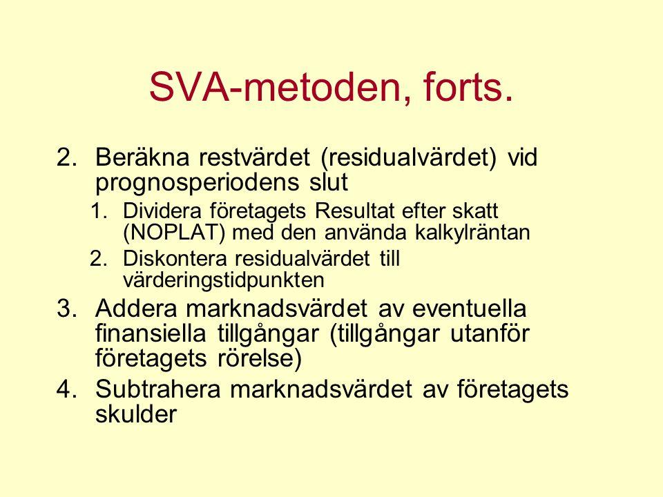 SVA-metoden, forts.