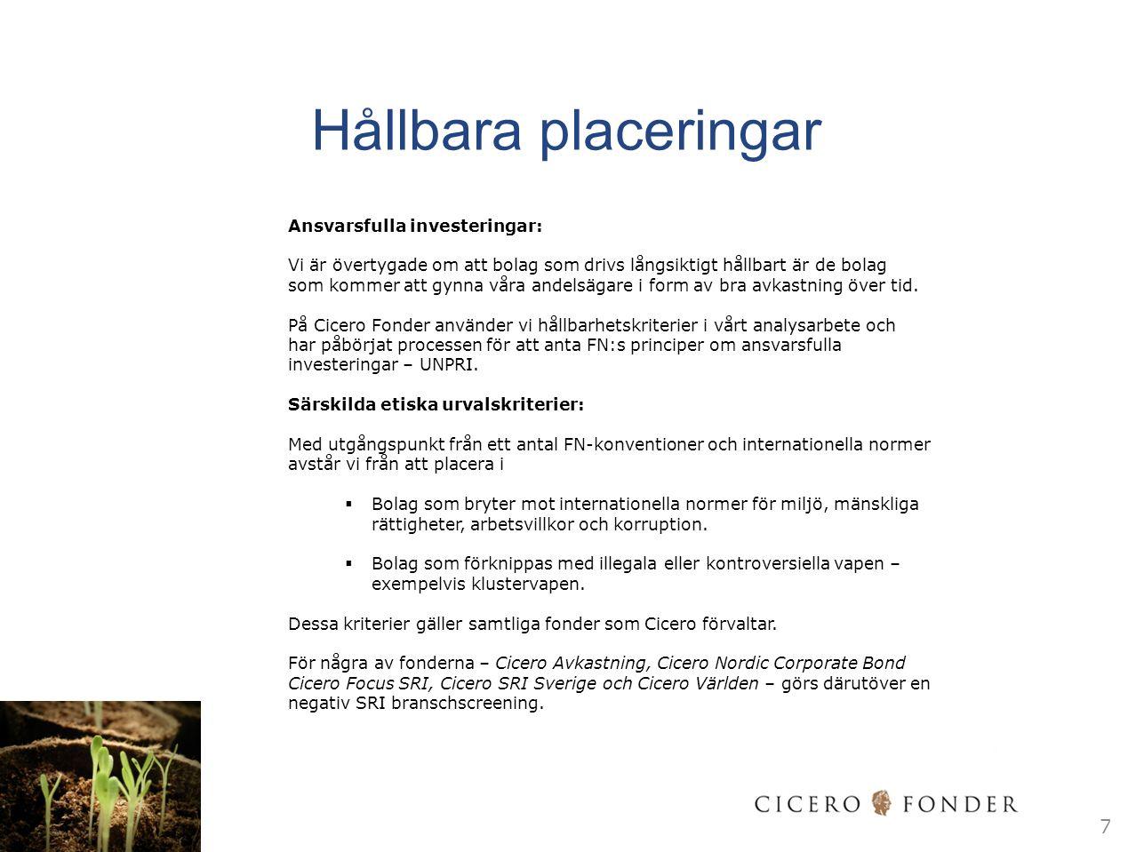 Cicero Avkastning Fondprofil & inriktning 8