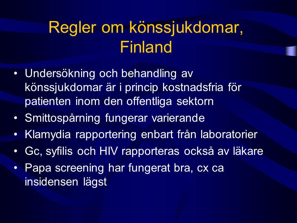 Regler om könssjukdomar, Finland Undersökning och behandling av könssjukdomar är i princip kostnadsfria för patienten inom den offentliga sektorn Smittospårning fungerar varierande Klamydia rapportering enbart från laboratorier Gc, syfilis och HIV rapporteras också av läkare Papa screening har fungerat bra, cx ca insidensen lägst