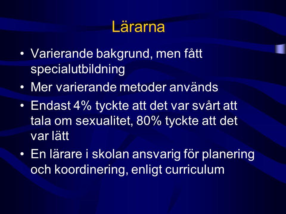 Lärarna Varierande bakgrund, men fått specialutbildning Mer varierande metoder används Endast 4% tyckte att det var svårt att tala om sexualitet, 80%