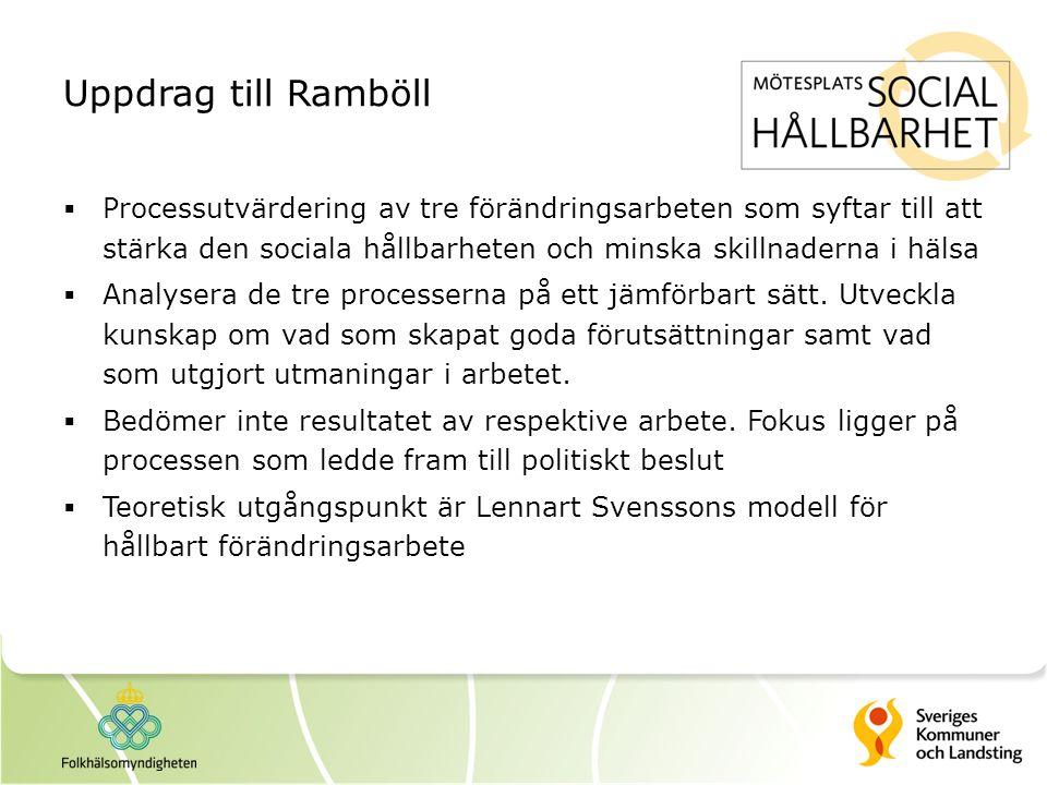 Uppdrag till Ramböll  Processutvärdering av tre förändringsarbeten som syftar till att stärka den sociala hållbarheten och minska skillnaderna i häls