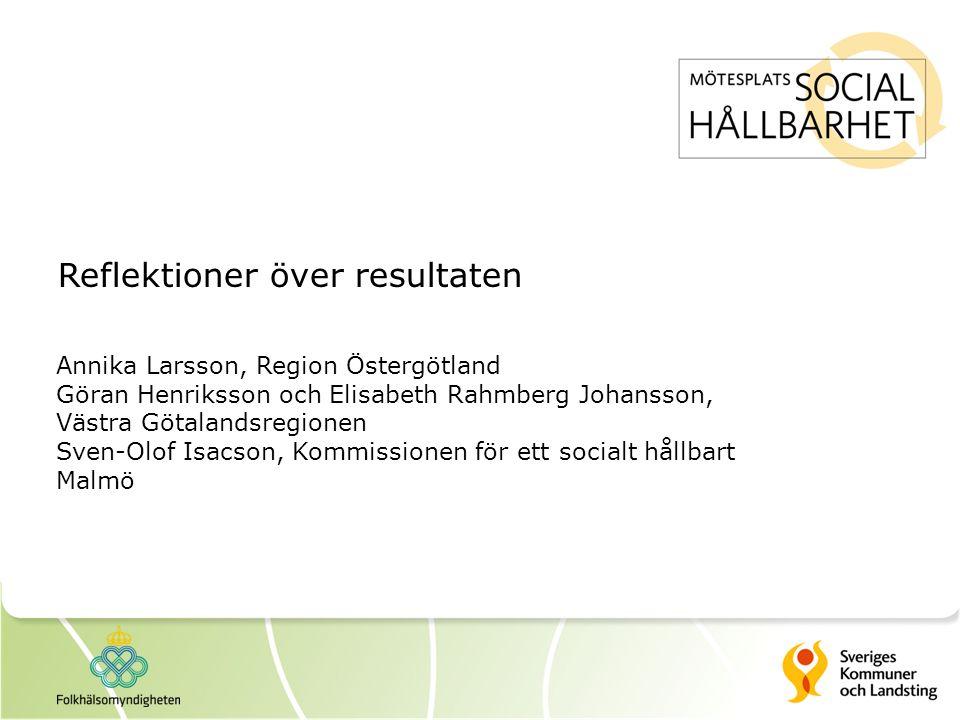 Reflektioner över resultaten Annika Larsson, Region Östergötland Göran Henriksson och Elisabeth Rahmberg Johansson, Västra Götalandsregionen Sven-Olof