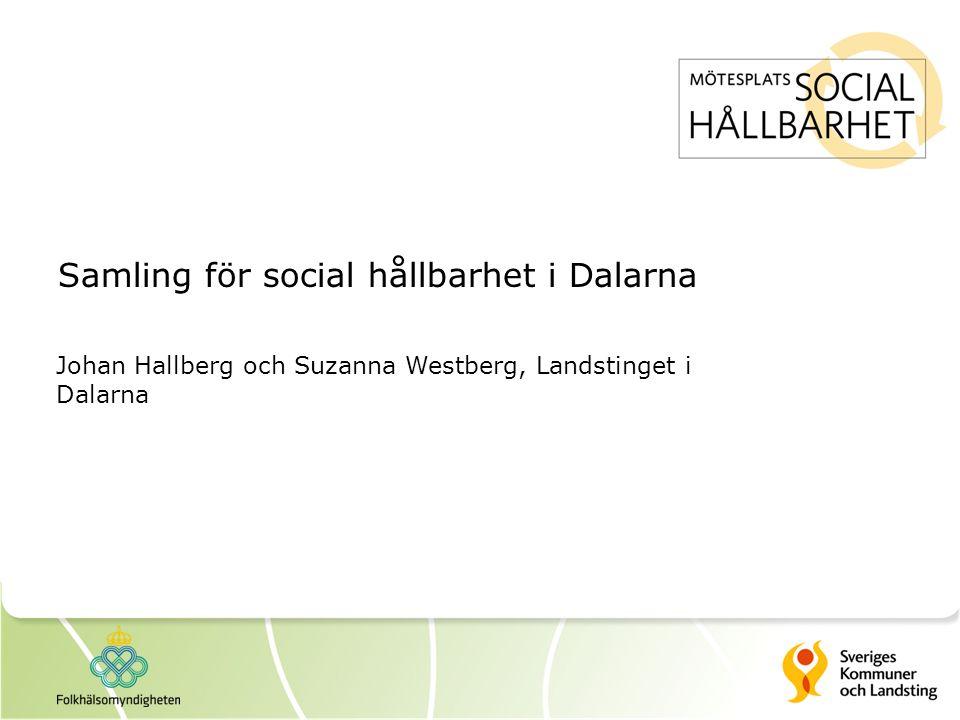 Samling för social hållbarhet i Dalarna Johan Hallberg och Suzanna Westberg, Landstinget i Dalarna