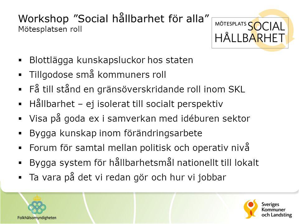 """Workshop """"Social hållbarhet för alla"""" Mötesplatsen roll  Blottlägga kunskapsluckor hos staten  Tillgodose små kommuners roll  Få till stånd en grän"""