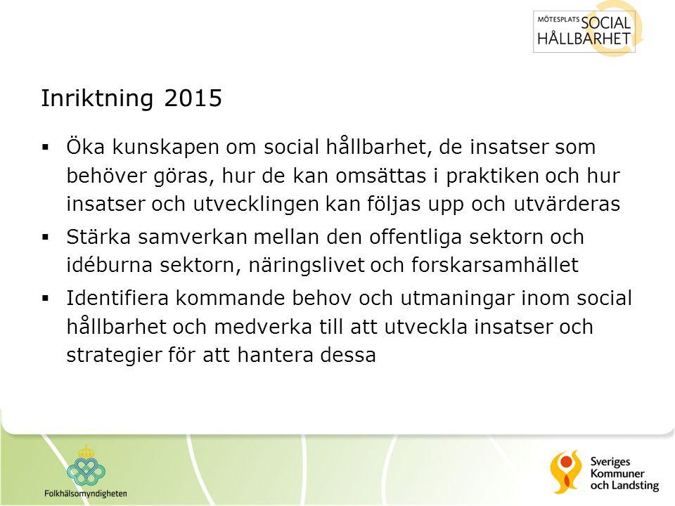 Inriktning 2015  Öka kunskapen om social hållbarhet, de insatser som behöver göras, hur de kan omsättas i praktiken och hur insatser och utvecklingen