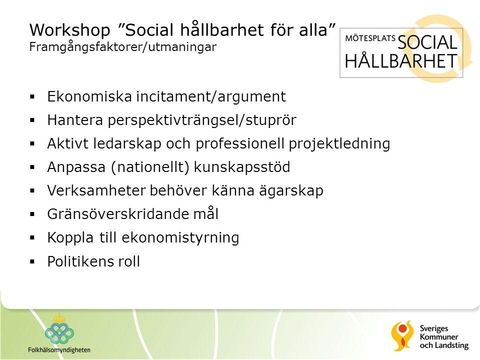 """Workshop """"Social hållbarhet för alla"""" Framgångsfaktorer/utmaningar  Ekonomiska incitament/argument  Hantera perspektivträngsel/stuprör  Aktivt leda"""