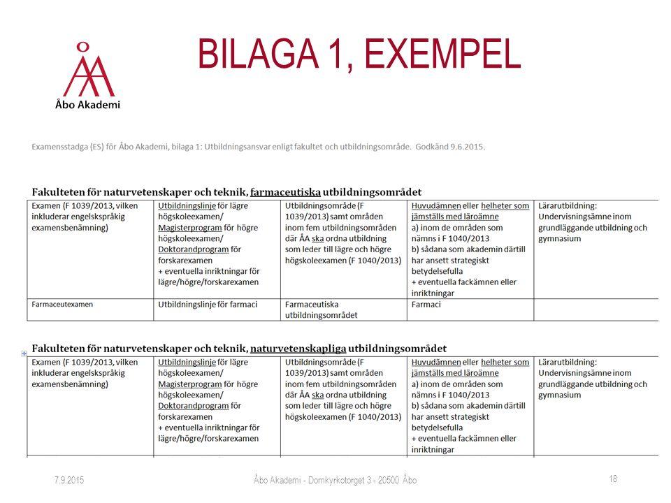 7.9.2015 18 BILAGA 1, EXEMPEL Åbo Akademi - Domkyrkotorget 3 - 20500 Åbo