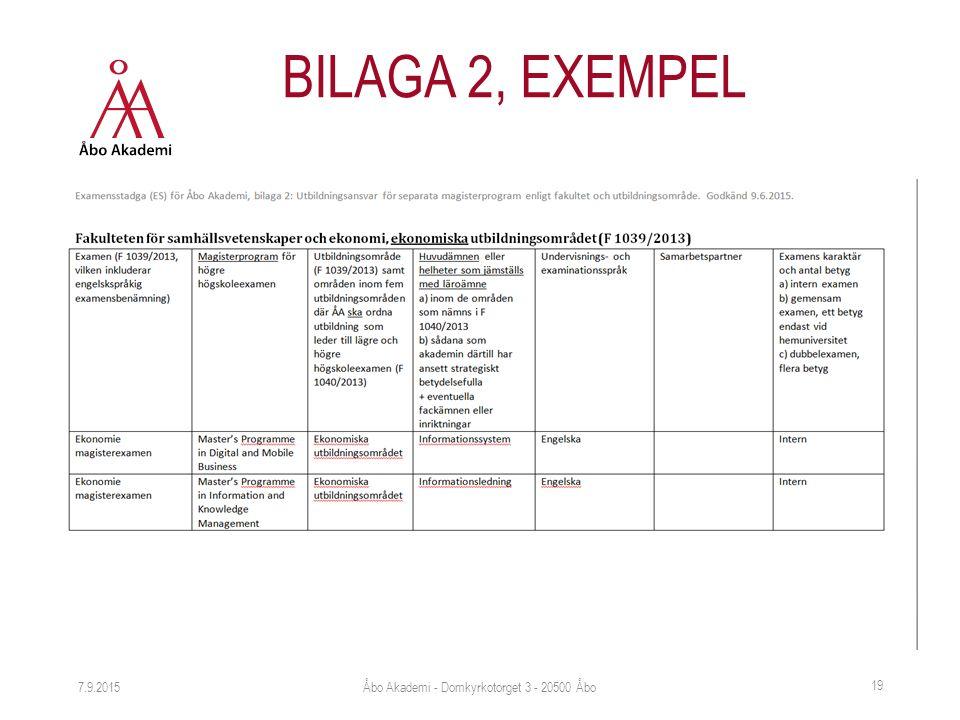 7.9.2015 19 BILAGA 2, EXEMPEL Åbo Akademi - Domkyrkotorget 3 - 20500 Åbo