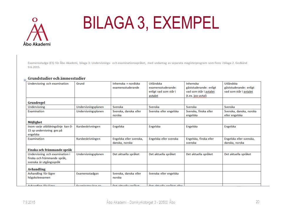 7.9.2015 20 BILAGA 3, EXEMPEL Åbo Akademi - Domkyrkotorget 3 - 20500 Åbo