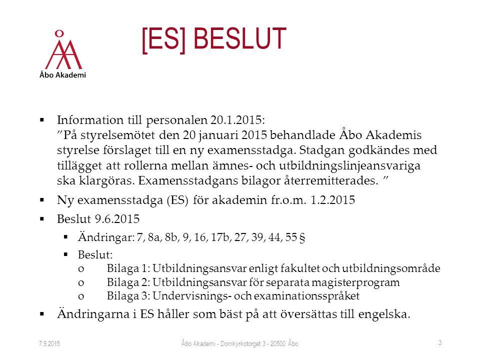 """ Information till personalen 20.1.2015: """"På styrelsemötet den 20 januari 2015 behandlade Åbo Akademis styrelse förslaget till en ny examensstadga. St"""