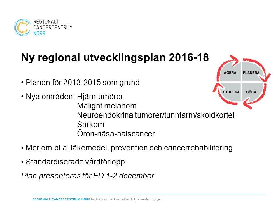 Ny regional utvecklingsplan 2016-18 Planen för 2013-2015 som grund Nya områden:Hjärntumörer Malignt melanom Neuroendokrina tumörer/tunntarm/sköldkörte
