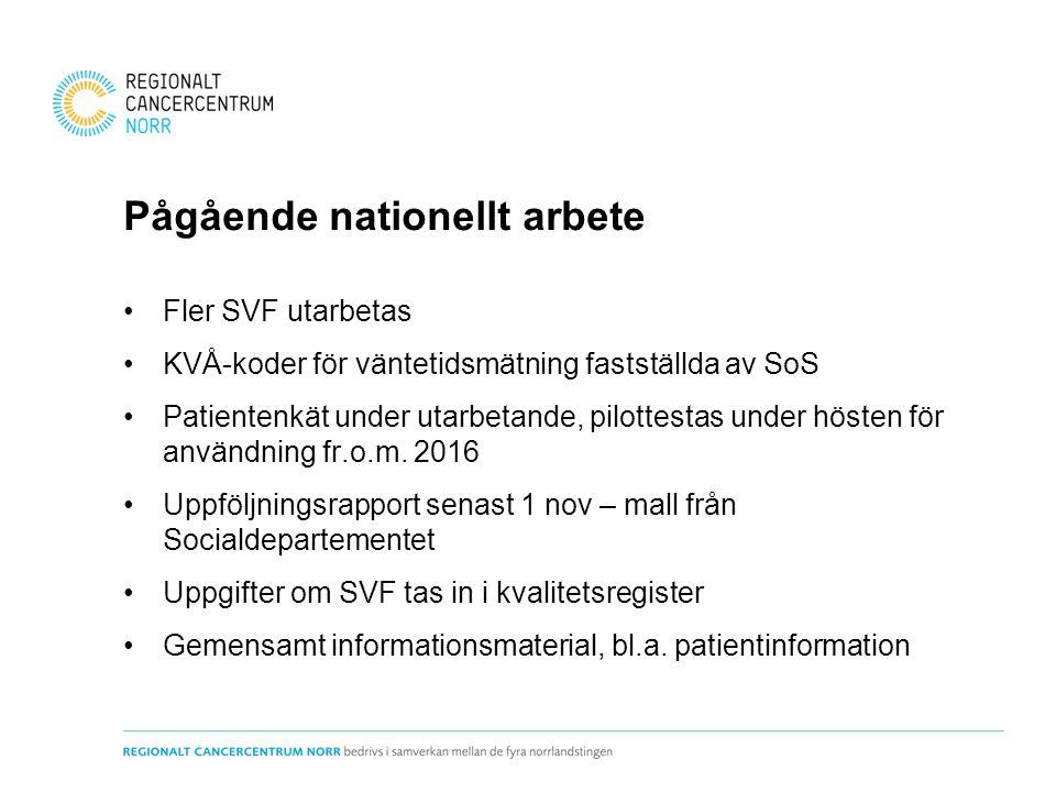 Fler SVF utarbetas KVÅ-koder för väntetidsmätning fastställda av SoS Patientenkät under utarbetande, pilottestas under hösten för användning fr.o.m. 2