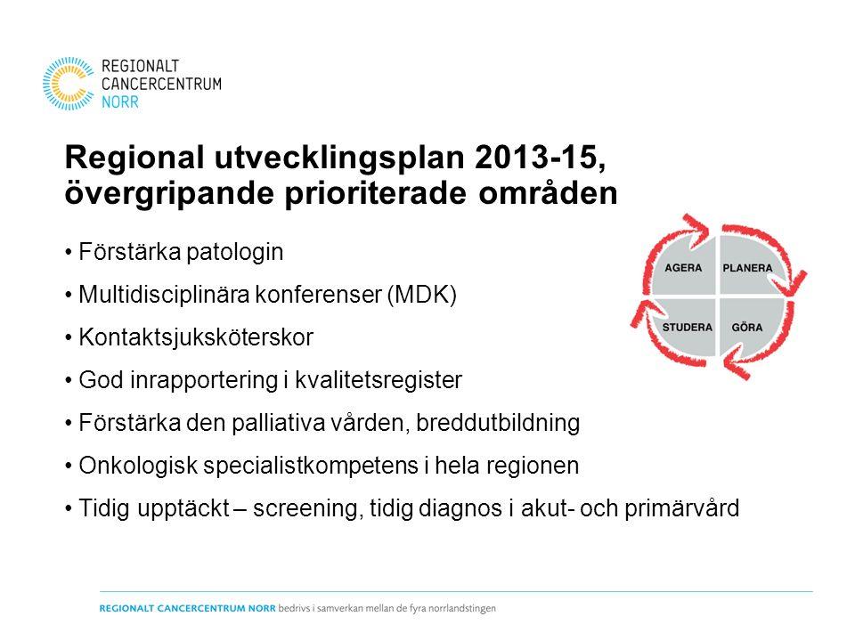 Regional utvecklingsplan 2013-15, övergripande prioriterade områden Förstärka patologin Multidisciplinära konferenser (MDK) Kontaktsjuksköterskor God