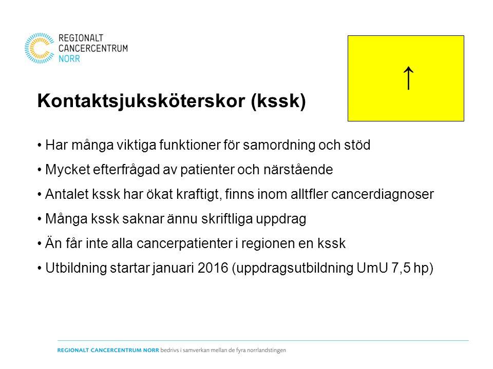 Kontaktsjuksköterskor (kssk) Har många viktiga funktioner för samordning och stöd Mycket efterfrågad av patienter och närstående Antalet kssk har öka