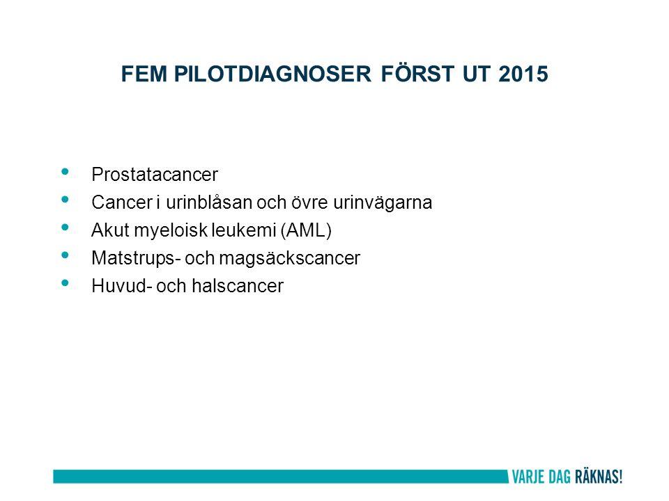 FEM PILOTDIAGNOSER FÖRST UT 2015 Prostatacancer Cancer i urinblåsan och övre urinvägarna Akut myeloisk leukemi (AML) Matstrups- och magsäckscancer Huvud- och halscancer