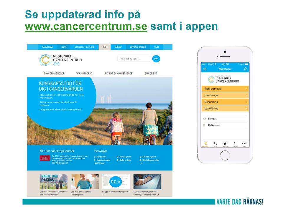 Se uppdaterad info på www.cancercentrum.se samt i appen www.cancercentrum.se