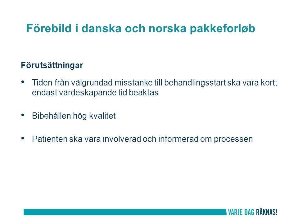Förutsättningar Tiden från välgrundad misstanke till behandlingsstart ska vara kort; endast värdeskapande tid beaktas Bibehållen hög kvalitet Patienten ska vara involverad och informerad om processen Förebild i danska och norska pakkeforløb