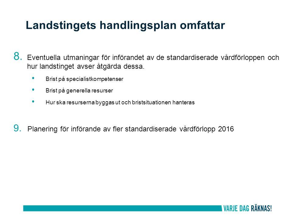 8. Eventuella utmaningar för införandet av de standardiserade vårdförloppen och hur landstinget avser åtgärda dessa. Brist på specialistkompetenser Br