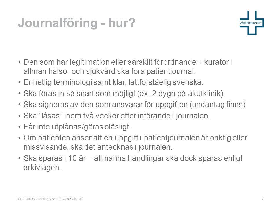 Skolsköterskekongress 2012 / Carita Fallström Journalföring - hur.