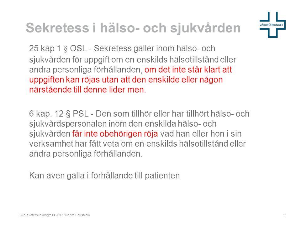 Skolsköterskekongress 2012 / Carita Fallström Sekretess i skolan 25 kap OSL medicinska insatser inom elevhälsan 25 kap OSL medicinska insatser inom elevhälsan 1.