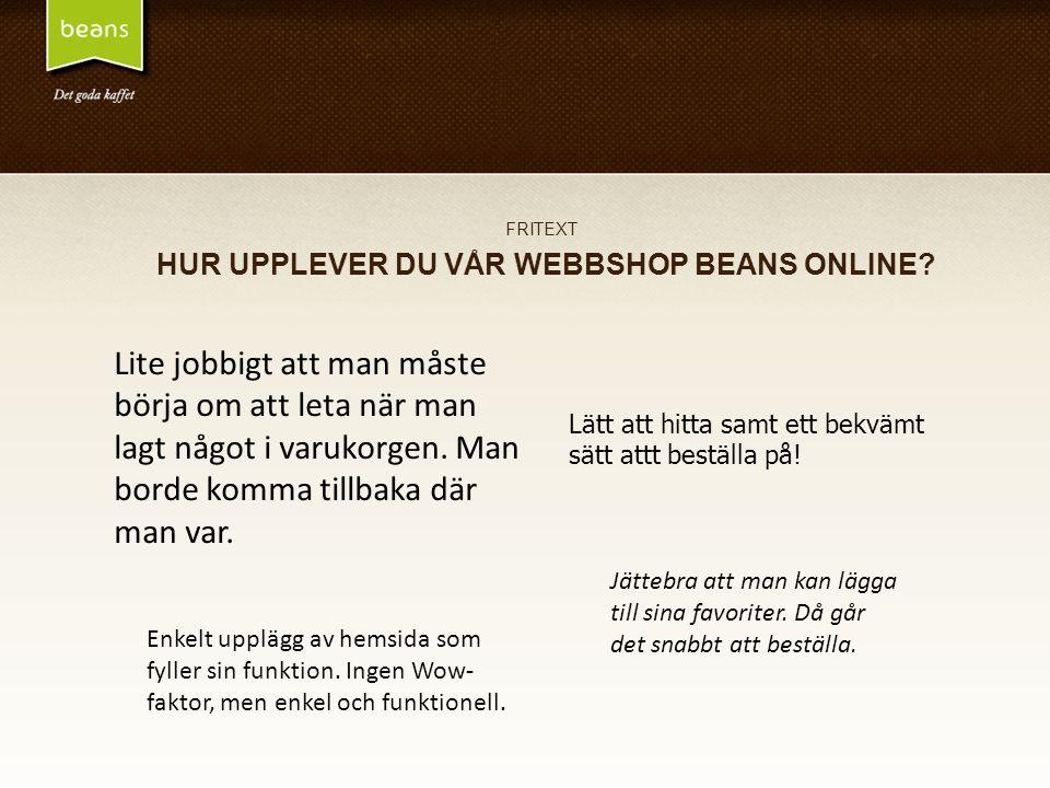 FRITEXT HUR UPPLEVER DU VÅR WEBBSHOP BEANS ONLINE.
