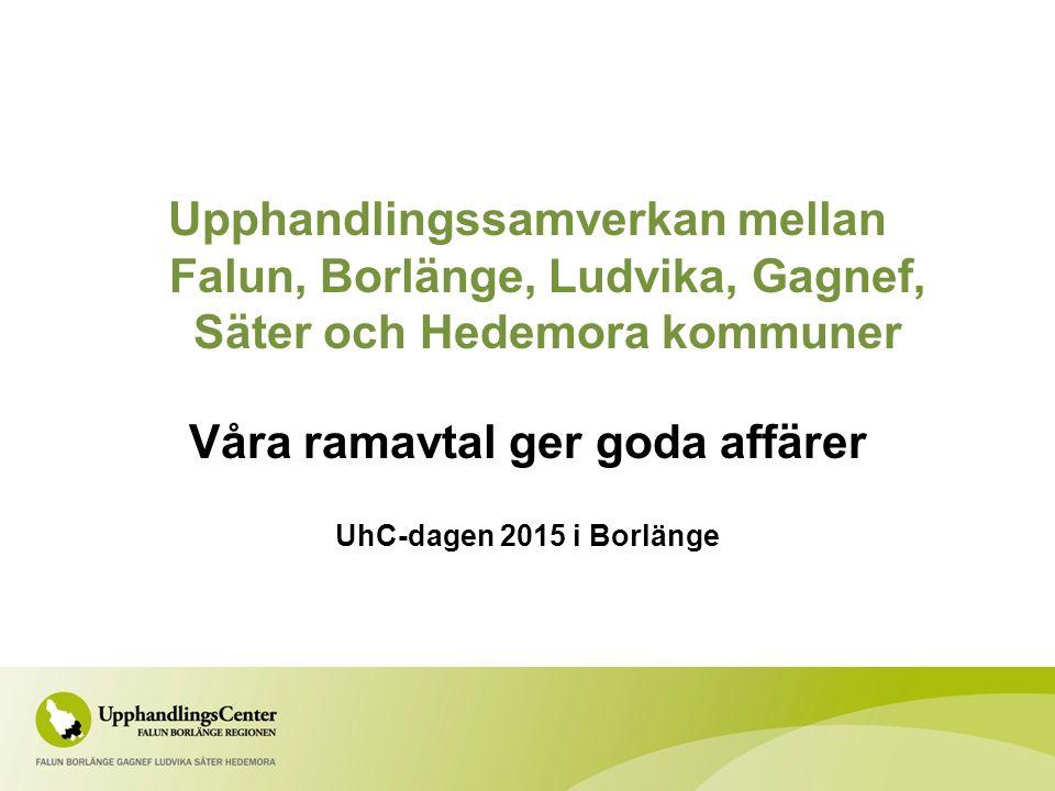 Upphandlingssamverkan mellan Falun, Borlänge, Ludvika, Gagnef, Säter och Hedemora kommuner Våra ramavtal ger goda affärer UhC-dagen 2015 i Borlänge