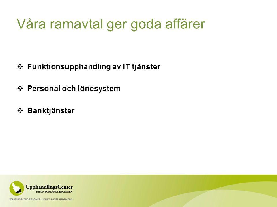 Våra ramavtal ger goda affärer  Funktionsupphandling av IT tjänster  Personal och lönesystem  Banktjänster