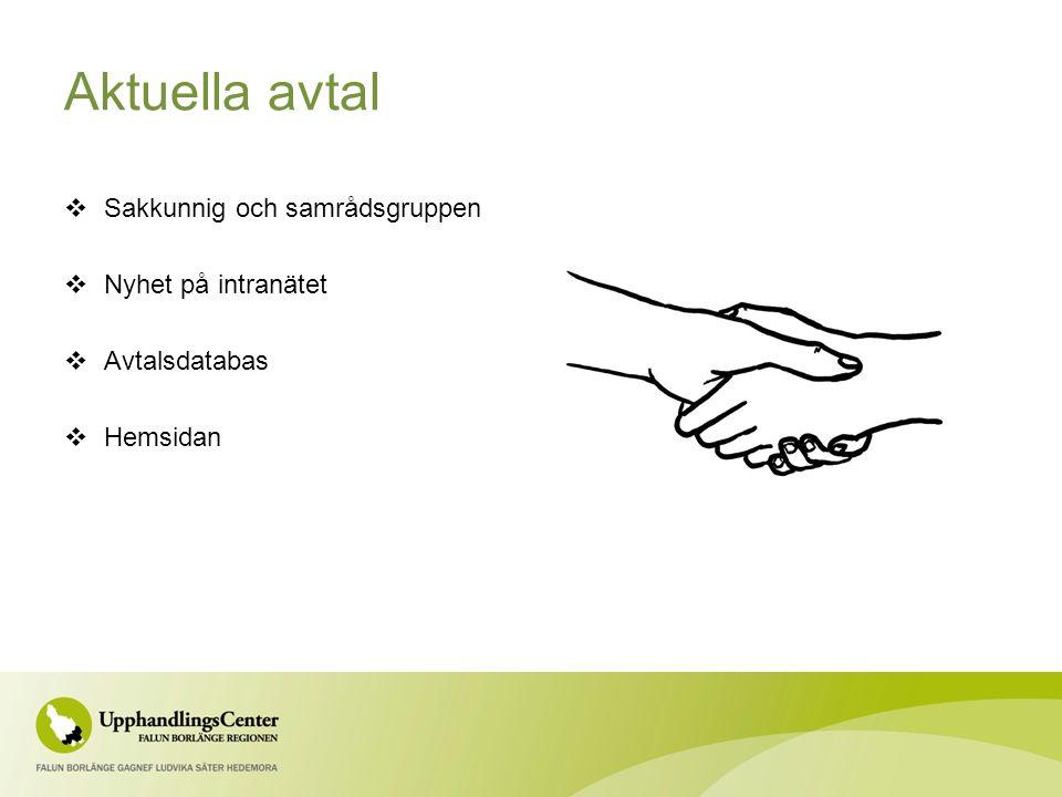 Aktuella avtal  Sakkunnig och samrådsgruppen  Nyhet på intranätet  Avtalsdatabas  Hemsidan