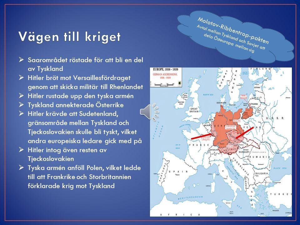  Saarområdet röstade för att bli en del av Tyskland  Hitler bröt mot Versaillesfördraget genom att skicka militär till Rhenlandet  Hitler rustade upp den tyska armén  Tyskland annekterade Österrike  Hitler krävde att Sudetenland, gränsområde mellan Tyskland och Tjeckoslovakien skulle bli tyskt, vilket andra europeiska ledare gick med på  Hitler intog även resten av Tjeckoslovakien  Tyska armén anföll Polen, vilket ledde till att Frankrike och Storbritannien förklarade krig mot Tyskland Molotov-Ribbentrop-pakten Avtal mellan Tyskland och Sovjet att dela Östeuropa mellan sig