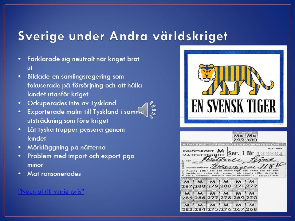 Danmark Invaderas i april 1940 Motståndsrörelse strejkade och saboterade 1943 tog tyskarna över landet helt och hållet Människor från den danska motståndsrörelsen fördes till koncentrationsläger eller mördades Norge Angreps 9 april av tyskarna som för första gången använde fallskärmsjägare Ockuperades bl a för att säkra transporten av malm från Sverige Norge gjorde motstånd men tvingades ge upp efter 62 dagar Vidkun Quisling, ledare för det norska nazistpartiet styrde Norge under ockupationen