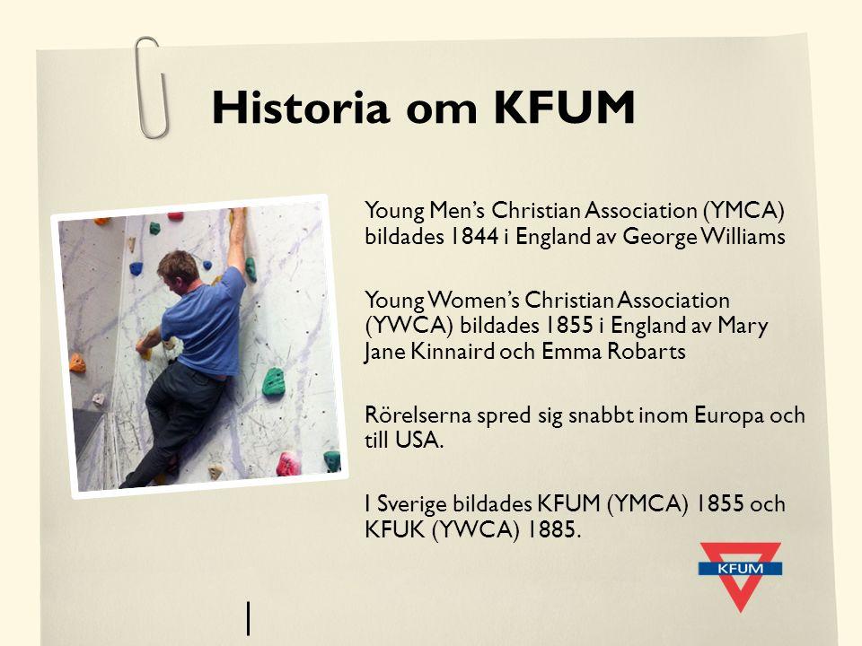 Historia om KFUM Young Men's Christian Association (YMCA) bildades 1844 i England av George Williams Young Women's Christian Association (YWCA) bildad