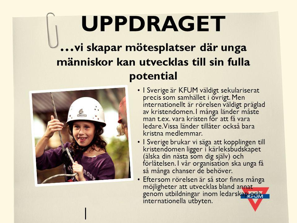 UPPDRAGET … vi skapar mötesplatser där unga människor kan utvecklas till sin fulla potential I Sverige är KFUM väldigt sekulariserat precis som samhäl