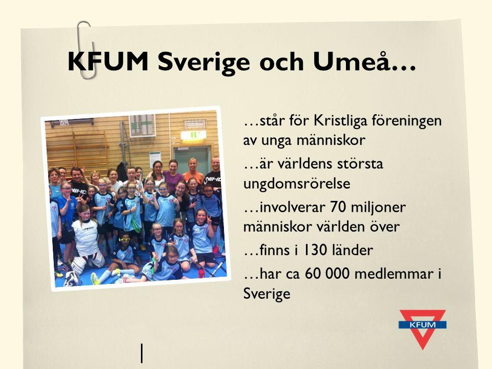 KFUM Sverige och Umeå… …står för Kristliga föreningen av unga människor …är världens största ungdomsrörelse …involverar 70 miljoner människor världen