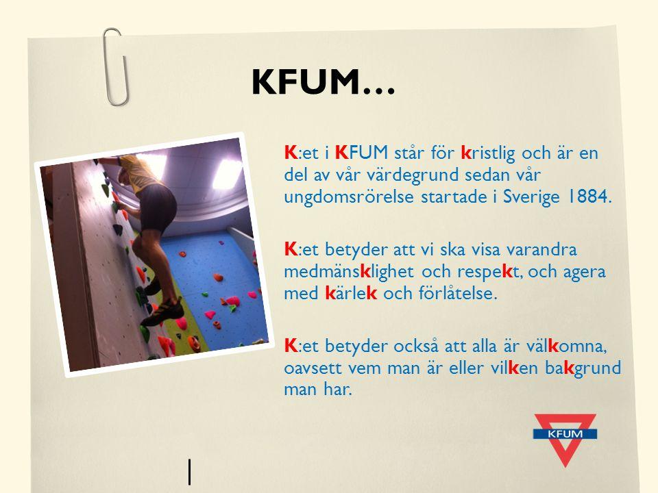 KFUM… K:et i KFUM står för kristlig och är en del av vår värdegrund sedan vår ungdomsrörelse startade i Sverige 1884. K:et betyder att vi ska visa var