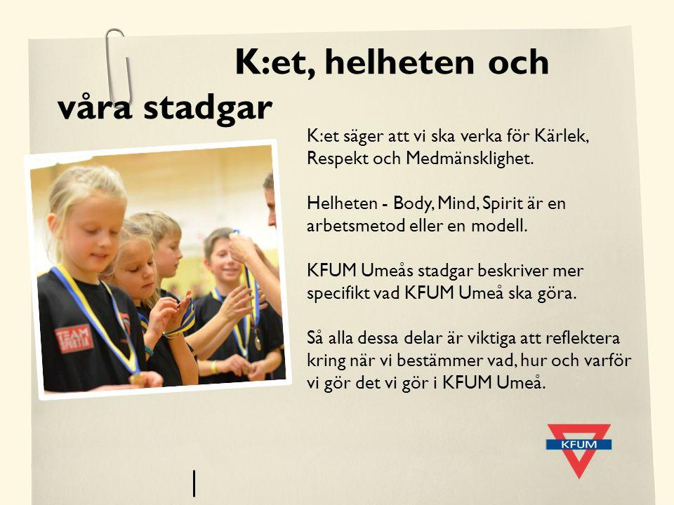 K:et, helheten och våra stadgar K:et säger att vi ska verka för Kärlek, Respekt och Medmänsklighet. Helheten - Body, Mind, Spirit är en arbetsmetod el