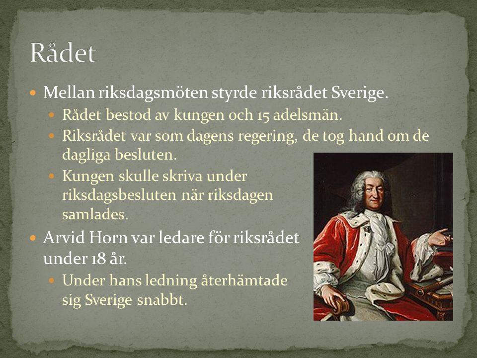 Mellan riksdagsmöten styrde riksrådet Sverige. Rådet bestod av kungen och 15 adelsmän. Riksrådet var som dagens regering, de tog hand om de dagliga be