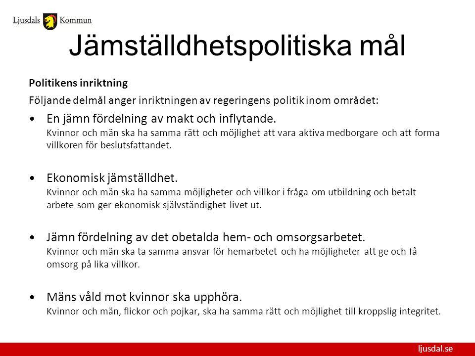 ljusdal.se Jämställdhetspolitiska mål Politikens inriktning Följande delmål anger inriktningen av regeringens politik inom området: En jämn fördelning