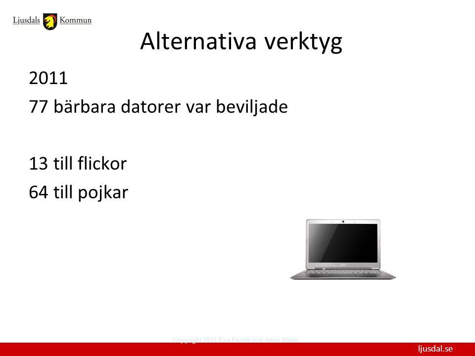 Alternativa verktyg 2011 77 bärbara datorer var beviljade 13 till flickor 64 till pojkar Copyright 2011 Eva Frosth och Anna Mann